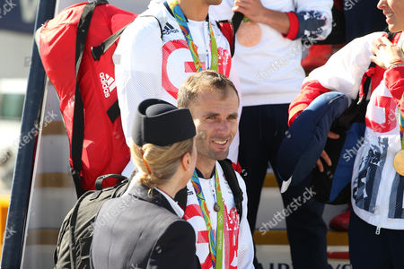 Stock Picture of Nick Dempsey arriving home from Rio 2016 Olympic Games with British Airways at Heathrow airport, Terminal 5, London on 23rd August 2016