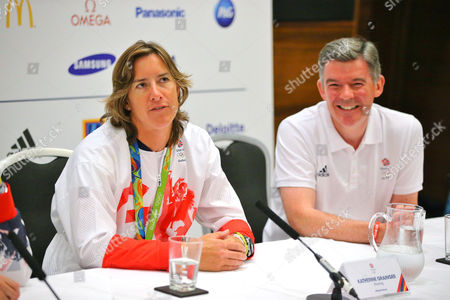 Sir Hugh Robertson (BOA Vice-Chairman) and Katherine Grainger (Rowing) during the press conference at Sofitel Hotel Heathrow, London on 23rd August 2016