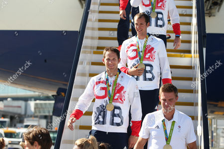 Matt Langridge, Pete Reed arriving home from Rio 2016 Olympic Games with British Airways at Heathrow airport, Terminal 5, London on 23rd August 2016