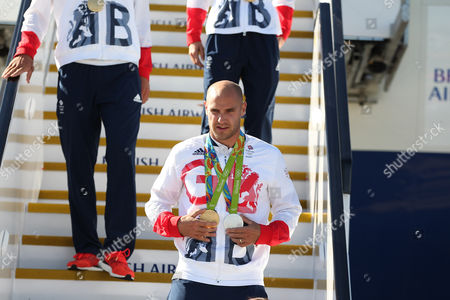 Liam Heath arriving home from Rio 2016 Olympic Games with British Airways at Heathrow airport, Terminal 5, London on 23rd August 2016
