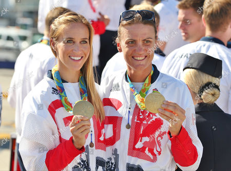 Stock Image of Helen Glover and Helen Stanning arriving home from Rio 2016 Olympic Games with British Airways at Heathrow airport, Terminal 5