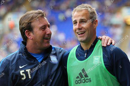 Luke Varney of Ipswich Town shares a pre-match joke with Preston North End first team coach, Steve Thompson - Ipswich Town v Preston North End, Sky Bet Championship, Portman Road, Ipswich - 27th August 2016.
