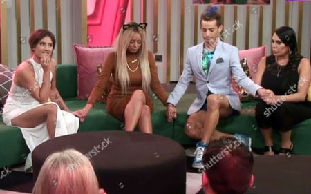 Katie Waissel, Aubrey O'Day, Frankie Grande and Renee Graziano await the eviction results