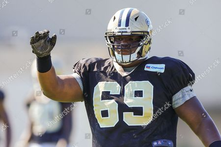 Stock Image of New Orleans Saints defensive end C. J. Wilson (69) during the New Orleans Saints Training Camp at the New Orleans Saints Training Facility in New Orleans, LA