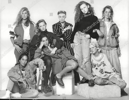 Stock Photo of Teenage Girls Who Have Been Talent Spotted By London's Top Model Agencies. (back L-r) Anya Fia Court Tamzin Greenhill Lou Lou Bonnie Sutton Becky Thomas. (front L-r) Mayumi Cabrera Sabina Acrii And Clare Dethridge. Anya Fa Court Box 697 806071638 A.jpg.