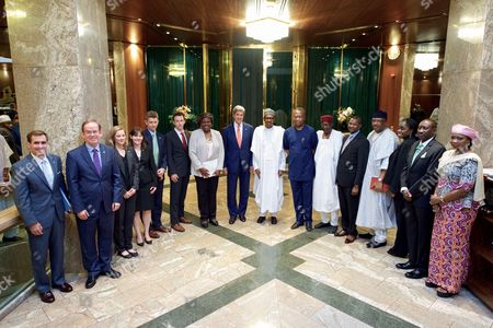 U.S. Secretary of State John Kerry is joined by Assistant Secretary of State for African Affairs Linda Thomas-Greenfield, U.S. Embassy Abuja Deputy Chief of Mission Lord Young, and other advisers