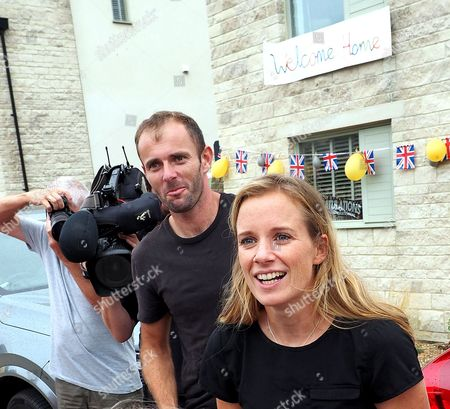 Stock Image of Medal winners Nick Dempsey (silver) and Hanna Mills (gold) from Rio 2016 who live at Portland Dorset where their neighbours turned out to welcome them by decorating their home at Fortuneswell. Nick arrived home early but the real surprise was for Hannah who had no idea what the the residents had in store for her return later this afternoon.