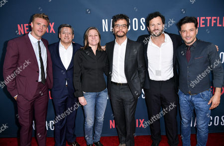 Boyd Holbrook, Ted Sarandos, Chief Content Officer at Netflix, Cindy Holland, Vice President of Original Content at Netflix, Wagner Moura, Eric Newman and Raul Mendez