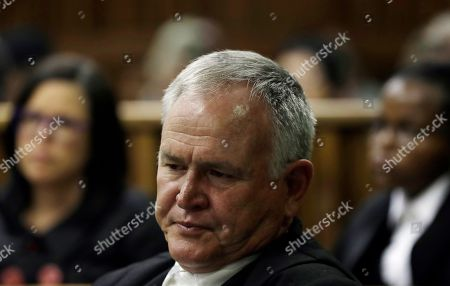 Barry Roux Defense lawyer Barry Roux speaks during the state appeal against Oscar Pistorius's six year murder sentence, at the high court in Johannesburg, South Africa