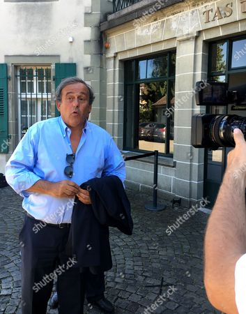 Michel Platini leaves the international Court of Arbitration for Sport, CAS, after a hearing in Lausanne Switzerland. Former FIFA President Sepp Blatter attended the hearing at the CAS, for his appeal on a six-year ban on football related activities Thursday.