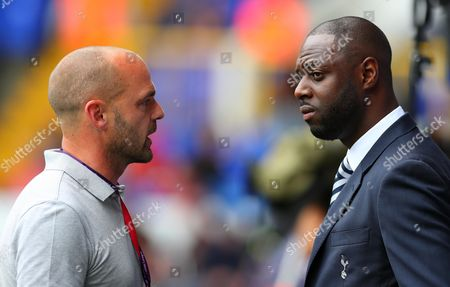 Ex Tottenham team mates Danny Murphy and Ledley King talk pitchside during the Premier League match between Tottenham Hotspur and Liverpool played at White Hart Lane, London on 27th August 2016