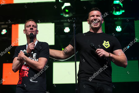 Coronation Street actor Antony Cotton and out gay rugby league player Keegan Hirst on the main stage in Manchester's Gay Village