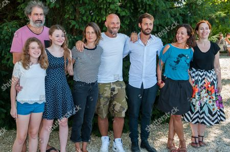 Stock Image of Fanie Zanini, Gustave Kervern, Heloise Dugas, Camille Cottin, Franck Gastambide, Mathieu Metral and Sophie Reine