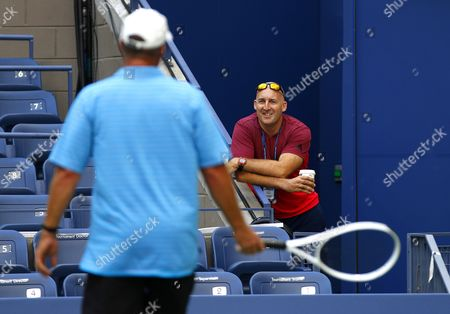 Jez Green, former fitness coach to Andy Murray, smiles at coach Ivan Lendl during practice ahead of the US Open 2016 at the Billie Jean King Tennis Centre, Queens, New York on the 28th August 2016