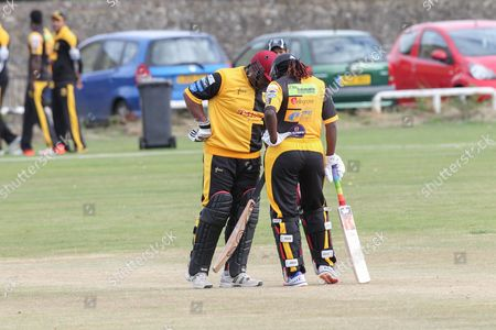 Gordon Greenidge and Stafanie Taylor during the Lashings All-Stars World XI vs House Of Commons & Lords match at Town Malling Cricket Club, Old County Ground, West Malling