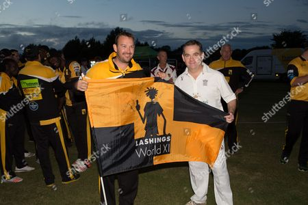 Nigel Adams MP and Chris Schofield during the Lashings All-Stars World XI vs House Of Commons & Lords match at Town Malling Cricket Club, Old County Ground, West Malling