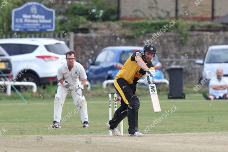Stock Picture of Chris Schofield in batt during the Lashings All-Stars World XI vs House Of Commons & Lords match at Town Malling Cricket Club, Old County Ground, West Malling
