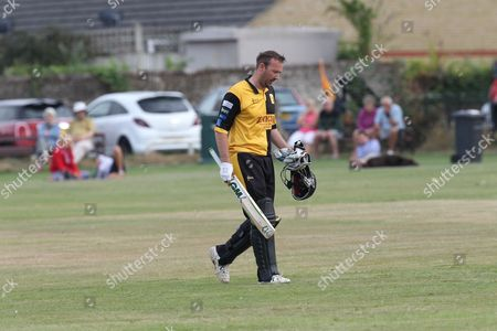 Chris Schofield end of innings during the Lashings All-Stars World XI vs House Of Commons & Lords match at Town Malling Cricket Club, Old County Ground, West Malling