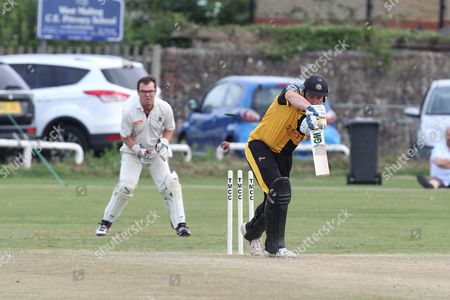 Chris Schofield in bat during the Lashings All-Stars World XI vs House Of Commons & Lords match at Town Malling Cricket Club, Old County Ground, West Malling
