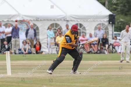 Stock Image of Gordon Greenidge in bat during the Lashings All-Stars World XI vs House Of Commons & Lords match at Town Malling Cricket Club, Old County Ground, West Malling