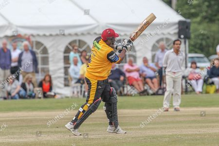 Stock Photo of Gordon Greenidge in bat during the Lashings All-Stars World XI vs House Of Commons & Lords match at Town Malling Cricket Club, Old County Ground, West Malling