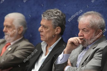 """Luiz Inacio Lula da Silva, Chico Buarque, Jaques Wagner Brazil's former President Luiz Inacio Lula da Silva, from right, singer and port Chico Buarque, and former Minister Jaques Wagner, sit in the gallery above the Senate, during the impeachment trial of Brazil's suspended President Dilma Rousseff in Senate chambers, in Brasilia, Brazil, . Fighting to save her job, Rousseff told senators on Monday that the allegations against her have no merit. """"I know I will be judged, but my conscience is clear. I did not commit a crime,"""" Rousseff told senators. Rousseff's address comes on the fourth day of the trial"""