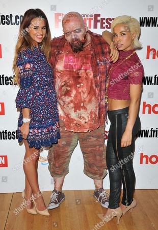Stock Photo of Naomi Millbank-Smith, zombie man and Marcia Do Vales