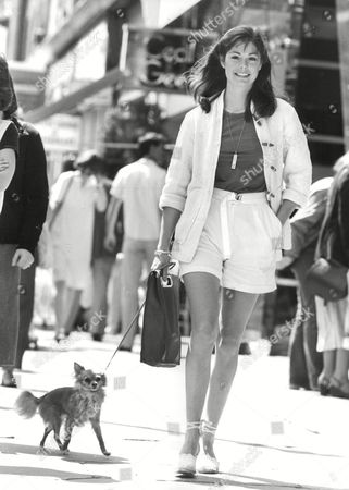 Trina Dolenz (24) Wife Of Micky Dolenz (of The Monkees) Walking Her Dog Named 'foxy'. Box 702 1102081649 A.jpg.