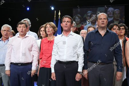 Stock Photo of Claude Bartolone, Jean-Francois Lamour, Marisol Touraine, Manuel Valls, Jean-Christophe Cambadelis, Najat Vallaud-Belkacem, Myriam El Khomri and Carole Delga during a Socialist Party meeting held at Halle Comminges in Colomiers (suburb of Toulouse), in the South West of France