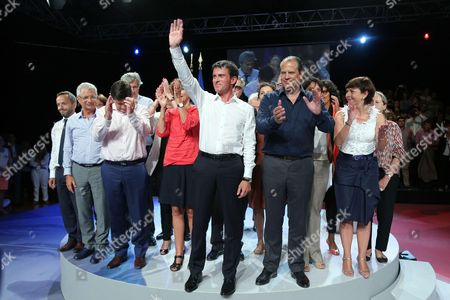 Claude Bartolone, Jean-Francois Lamour, Marisol Touraine, Manuel Valls, Jean-Christophe Cambadelis, Najat Vallaud-Belkacem, Myriam El Khomri and Carole Delga during a Socialist Party meeting held at Halle Comminges in Colomiers (suburb of Toulouse), in the South West of France
