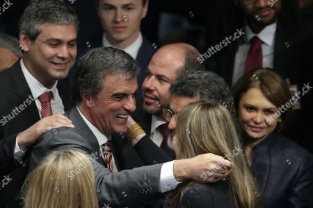 Jose Eduardo Cardoso Defense lawyer Jose Eduardo Cardozo is greeted by a group of senators after final arguments, by the defense and the prosecution, were presented at the impeachment trial of Brazil's suspended President Dilma Rousseff, in Senate chambers, in Brasilia, Brazil, . Now that the prosecution and defense presented their final arguments, each senator will be allowed to speak, and then the Senate will vote whether to permanently remove Rousseff from office. That decision could come late Tuesday or Wednesday