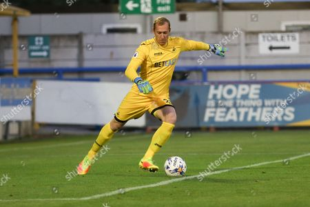 Swansea City goalkeeper Gerhard Tremmel (25) during the EFL Trophy match between AFC Wimbledon and U23 Swansea City at the Cherry Red Records Stadium, Kingston