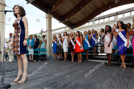 Miss America 2016 Betty Cantrell sings the National Anthem during Miss America Pageant arrival ceremonies, in Atlantic City