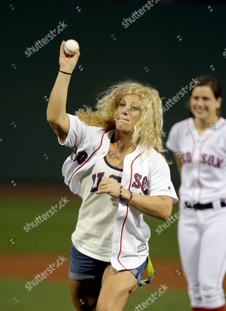 Kayla Harrison Olympic gold medalist in judo Kayla Harrison throws out a ceremonial first pitch before a baseball game between the Kansas City Royals and the Boston Red Sox, in Boston