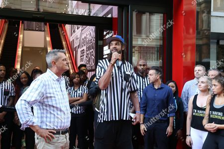 Foot Locker EVP/CEO Jake Jacobs and NY Knicks player  Joakim Noah seen at the Foot Locker 34th Street Grand Opening on  in New York