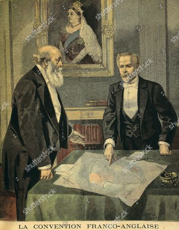 Stock Photo of Paul Cambon, 1843-1924 French diplomat and Lord Salisbury, 1830-1903 British conservative political leader and prime minister discussing African partition, Franco-English convention, April 1899, engraving from French publication Le Petit Journal