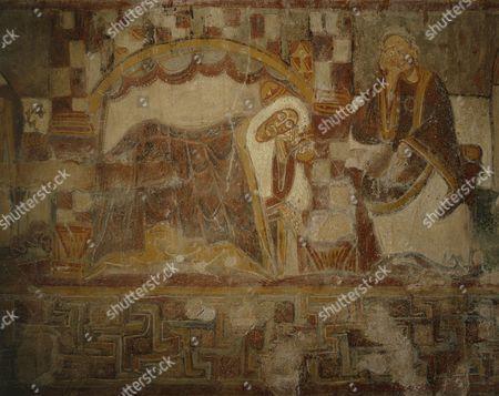 Nativity, fresco, 12th century, Chapel of Saint Martin de Fenollar, Maureillas Les Illas