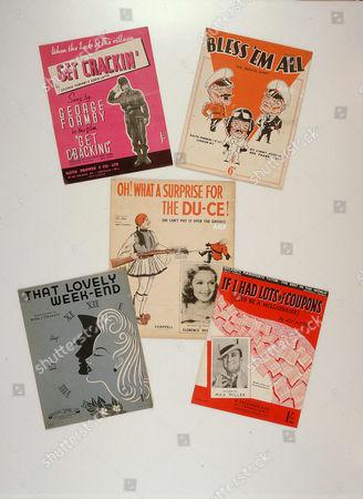World War II sheet music, including Bless 'em all, That lovely Weekend and Get Crackin'