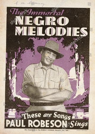Sheet Music, for The Immortal Negro Melodies, songs sung by Paul Robeson, free supplement to the Family Journal, November 6, 1937