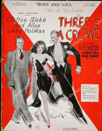 Stock Photo of Sheet Music from Three's A Crowd, 1930, with Clifton Webb, Fred Allen and Libby Holman