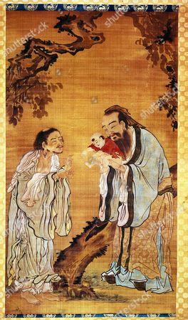 Shakyamuni Buddha, Confucius, 551-479 BC, and Lao Tzu, founder of Chinese Taoism, Wang Shu-Ku painting, 18th century