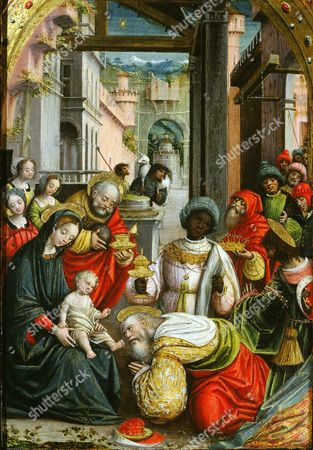 Adoration of the Magi, triptych, 1523 (inv 1040), central panel, detail (Defendente Ferrari)