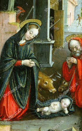 Nativity, triptych, 1523 (inv 1040), left-hand panel, detail (Defendente Ferrari)