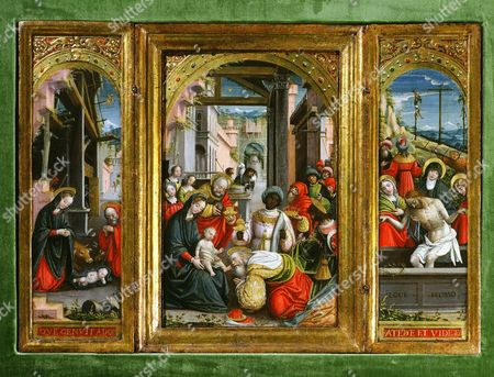 Nativity; Adoration of the Magi and Christ at the Sepulchre; triptych, 1523 (inv 1040) (Defendente Ferrari)