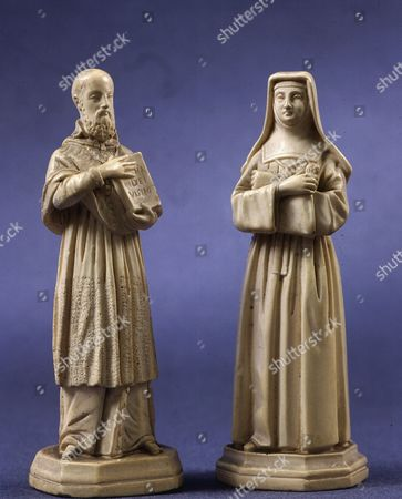 Saint FRANCIS of Sales, 1567-1622 Bishop of Geneva and Doctor of the Universal Church, and Saint Joan (or Jane Frances or Jeanne) of Chantal, 1572-1641, ivory figurines (Artist unknown)