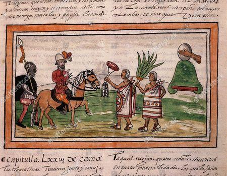 Hernando CORTES, 1485-1547 Spanish conquistador, meeting indians of Tlaxcala region, Mexico, folio 207R of 1579 manuscript Historia de las Indias by Diego Duran