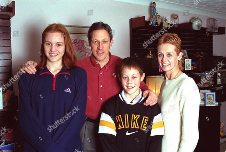 Allan Wells at home in Guildford with (L-R) daughter Zoe 14yrs, son Simon 11yrs, and wife Margot