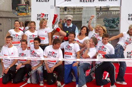 Back - Kirsty Gallacher, Sally Gunnell, Nicki Chapman, Chris Evans, Davina McCall, Kate Thornton, Gillian McKeith, Front - Steve Cram, Danny Crates, Jay Sean, John Inverdale, Ben Richards, Jake Humphrey