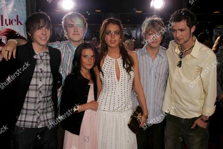 McFly with Lindsay Lohan and sister Aliana Lohan