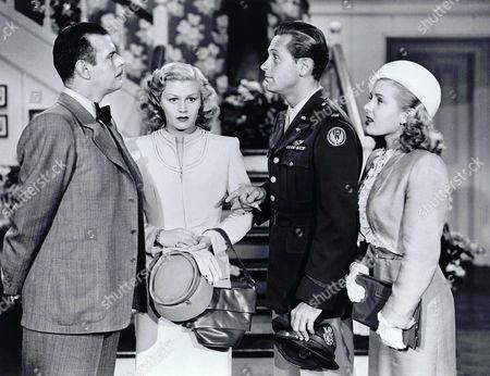 Billy De Wolfe, Joan Caulfield, William Holden, Virginia Welles